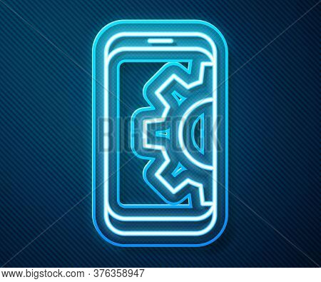 Glowing Neon Line Setting On Smartphone Icon Isolated On Blue Background. Adjusting, Service, Settin