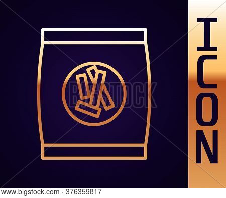 Gold Line Hard Bread Chucks Crackers Icon Isolated On Black Background. Vector Illustration
