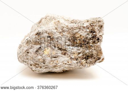 Mica Muscovite Rare Earth Mineral Samples On A White Background