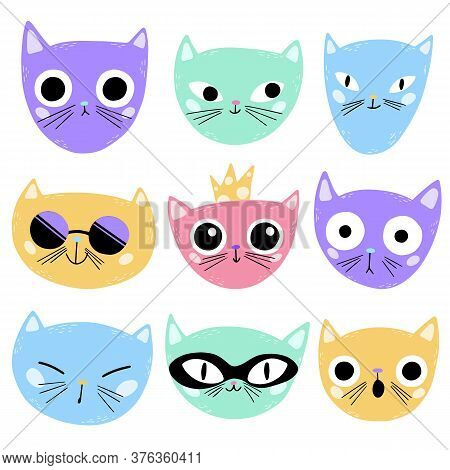 Vector Illustration Of Cute Cartoon Cats Faces Isolated On White Background. Multi-colored Cats Emot