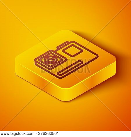 Isometric Line Action Extreme Camera Icon Isolated On Orange Background. Video Camera Equipment For