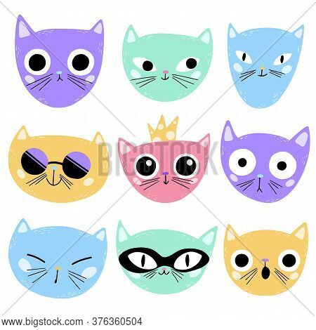 Illustration Of Cute Cartoon Cats Faces Isolated On White Background. Multi-colored Cats Emotions In