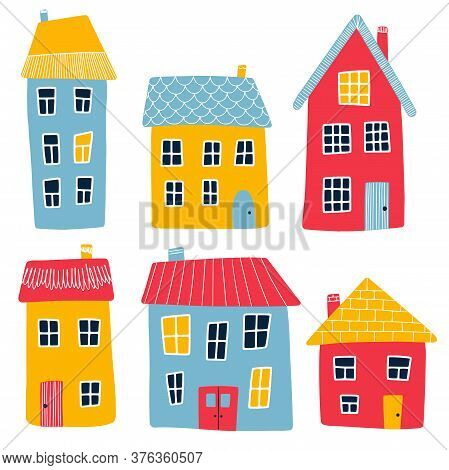 Illustration Of Multi-colored Cartoon Primitive Houses Isolated On A White Background. Red, Yellow A
