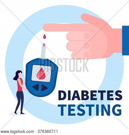 Human Hand With Blood Drop And Blood Glucose Testing Meter. Tiny Doctor Woman Holding Glucometer For
