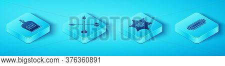 Set Isometric Alcohol Drink Rum Bottle, Crossed Arrows, Harmonica And Hexagram Sheriff Icon. Vector