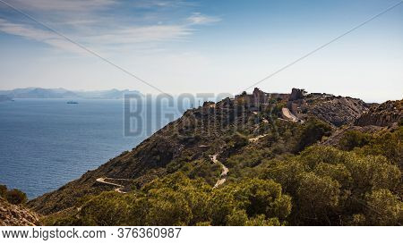 Tourist Site. Fortification Area Battery De Castillitos In Spain Cartagena, Cabo Tinoso. View From D