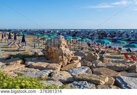 Marina Di Pisa, Italy - August 14, 2019: Picturesque View On Beach In Marina Di Pisa, Tuscany, Italy