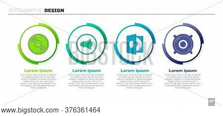 Set Vinyl Disk, Speaker Volume, Vinyl Player With A Vinyl Disk And Stereo Speaker. Business Infograp