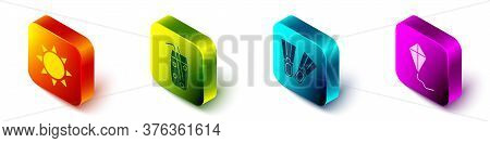 Set Isometric Sun, Cocktail And Alcohol Drink, Rubber Flippers And Kite Icon. Vector