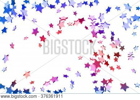 Abstract Confetti Flying Star. Shooting Star Background. Random Stars Shine On A White Background. W