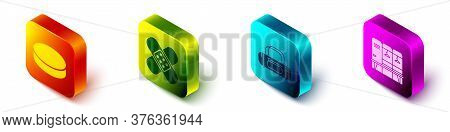 Set Isometric Hockey Puck, Crossed Bandage Plaster, Sport Bag And Locker Or Changing Room Icon. Vect