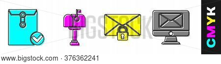 Set Envelope And Check Mark, Mail Box, Mail Message Lock Password And Monitor And Envelope Icon. Vec