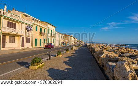 Marina Di Pisa, Italy - August 14, 2019: The Town Waterfront Of Marina Di Pisa At Sunset, Tuscany, I