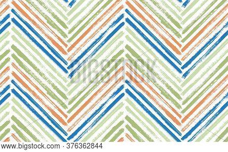 Unusual Chevron Interior Print Vector Seamless Pattern. Paint Brush Stroke Geometric Stripes. Hand D