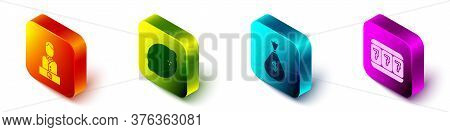 Set Isometric Casino Dealer, Casino Slot Machine With Lemon, Money Bag And Slot Machine With Lucky S