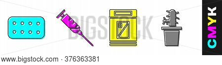Set Pills In Blister Pack, Syringe, Cigarettes Pack Box And Cactus Peyote In Pot Icon. Vector