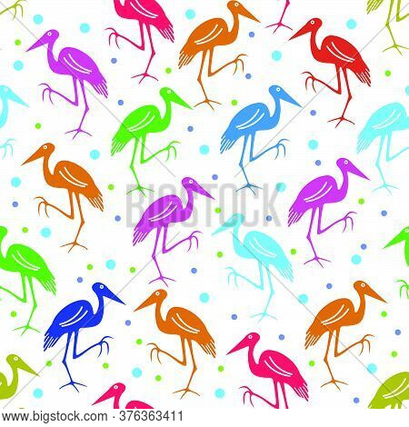 Vector Design Of Colorful Stork Patterns With A Dotted White Background, Can Be Used For Fabrics, Te