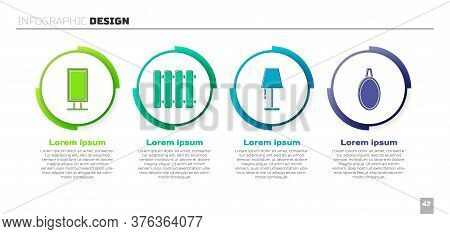 Set Big Full Length Mirror, Heating Radiator, Table Lamp And Mirror. Business Infographic Template.