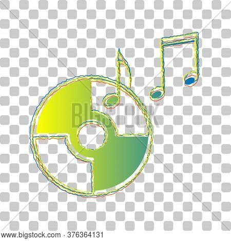 Compact Disk With Music Notes Sign. Blue To Green Gradient Icon With Four Roughen Contours On Stylis