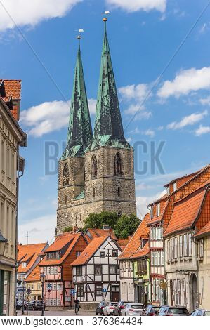 Quedlinburg, Germany - July 03, 2020: Street Leading To The Historic St. Nikolaikirche Church In Que