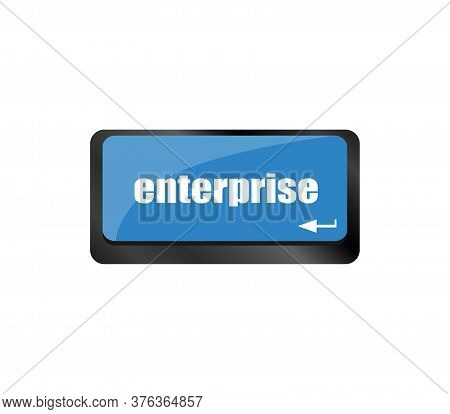 Concept Of E-commerce Or Ecommerce, Enterprise, With Message On Computer Keyboard. Enterprise Key