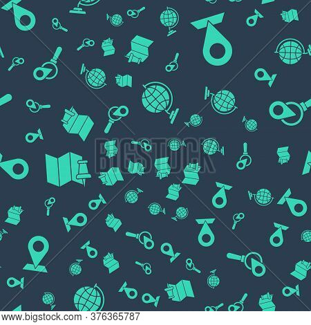 Set Earth Globe, Location, Folded Map With Push Pin And Search Location On Seamless Pattern. Vector