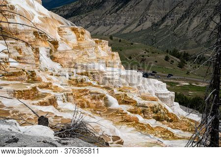 Hot Springs Terraces Overlooking Mammoth Hot Springs In Yellowstone National Park