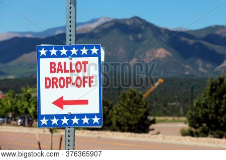 Colorado Springs, Co, Usa - June 24, 2020: Ballot Box For Colorado State Primary Election - All Mail