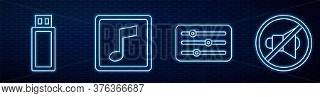 Set Line Sound Mixer Controller, Usb Flash Drive, Music Note, Tone, Speaker Mute And Power Button. G
