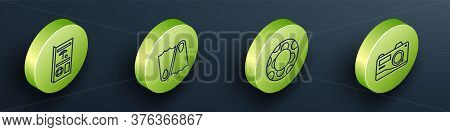 Set Isometric Travel Brochure, Rubber Flippers, Rubber Swimming Ring And Photo Camera Icon. Vector