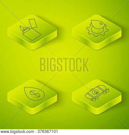 Set Isometric Oil Industrial Factory Building, Oil Drop With Dollar, Oil Railway Cistern And Lighter
