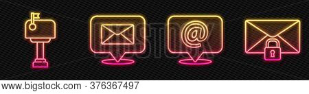 Set Line Mail And E-mail On Speech Bubble, Mail Box, Speech Bubble With Envelope And Mail Message Lo