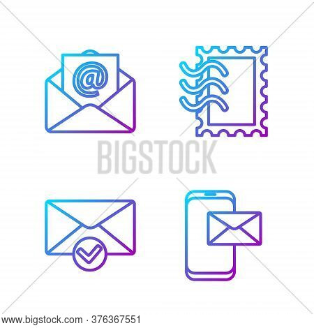 Set Line Mobile And Envelope, Envelope And Check Mark, Mail And E-mail And Postal Stamp. Gradient Co