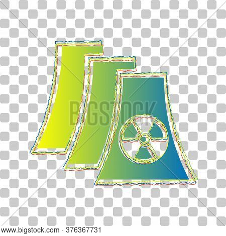 Nuclear Power Plant Sign. Blue To Green Gradient Icon With Four Roughen Contours On Stylish Transpar