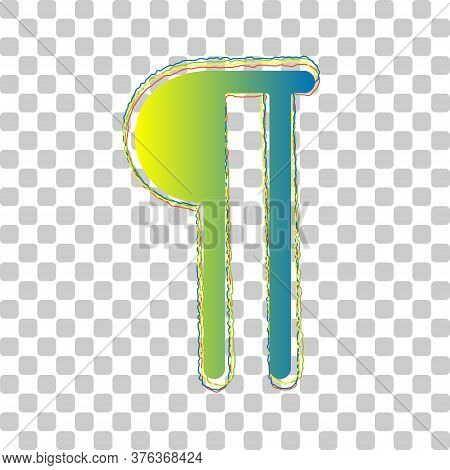 Paragraph Sign. Blue To Green Gradient Icon With Four Roughen Contours On Stylish Transparent Backgr