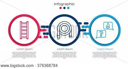 Set Line Fire Escape, Fire Hose Reel And Phone With Emergency Call 911. Business Infographic Templat