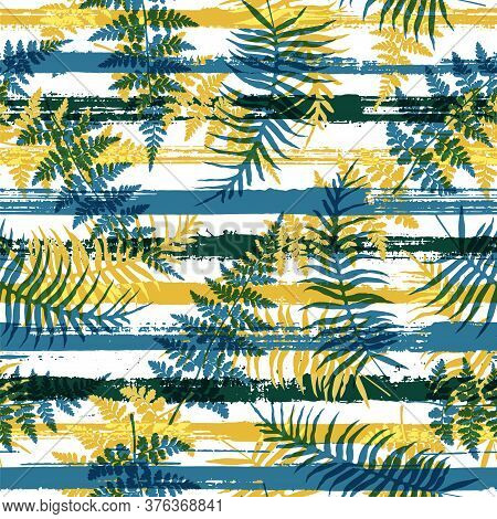 Cool New Zealand Fern Frond And Bracken Grass Overlapping Stripes Vector Seamless Pattern. Brazilian