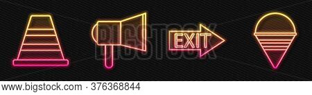Set Line Fire Exit, Traffic Cone, Megaphone And Fire Cone Bucket. Glowing Neon Icon. Vector