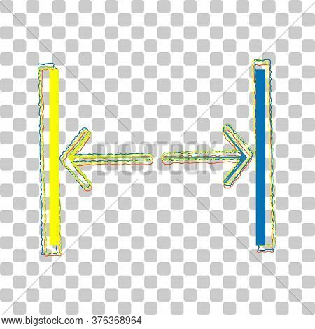 Sliding Door, Automatic Door Sign. Blue To Green Gradient Icon With Four Roughen Contours On Stylish
