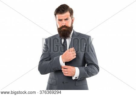 Going For Something More Classic. Fashion Look Of Bearded Man. Businessman Fix Cuff Isolated On Whit