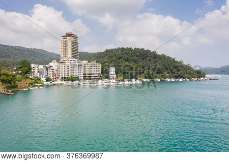 Nantou, Taiwan - October 5th, 2019: landscape of Shuishe Pier at Sun Moon Lake, Taiwan, Asia