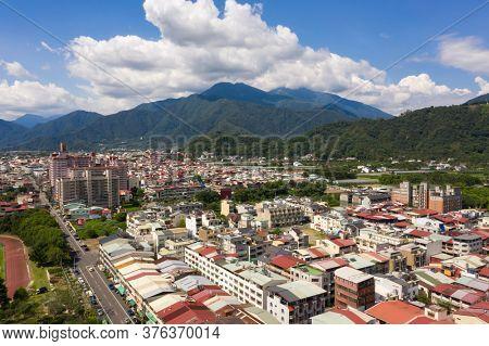 Puli, Taiwan - July 12th, 2020: aerial view of Puli town cityscape at Nantou, Taiwan, Asia