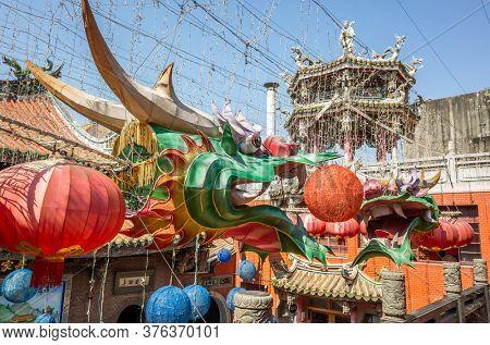 Lukang, Taiwan - October 18th, 2019: dragon lanterns Lukang Tianhou Temple, also known as Mazu Temple at Changhua, Taiwan