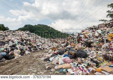 Yuchi, Taiwan - June 27th, 2020: the landfill at daytime in Nantou, Taiwan
