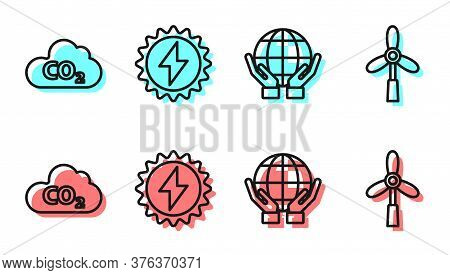 Set Line Hands Holding Earth Globe, Co2 Emissions In Cloud, Solar Energy Panel And Wind Turbine Icon