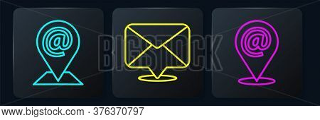 Set Line Location And Mail And E-mail, Location And Mail And E-mail And Envelope. Black Square Butto