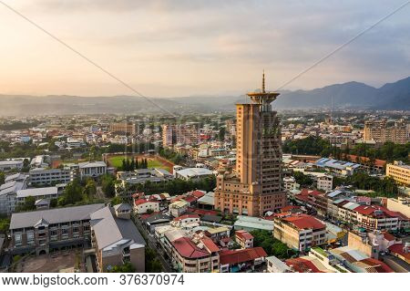 Nantou, Taiwan - September 25th, 2019: sunset landscape aerial view of Puli town with buildings, Nantou, Taiwan