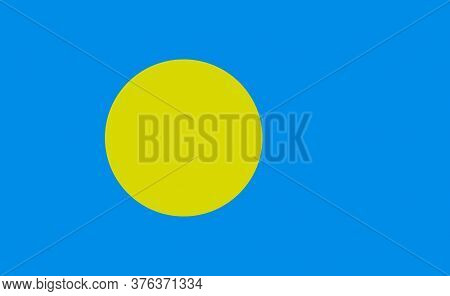 Palau National Flag In Exact Proportions - Vector
