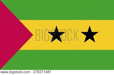 Sao Tome And Principe National Flag In Exact Proportions - Vector