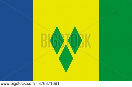 Saint Vincent And The Grenadines National Flag In Exact Proportions - Vector
